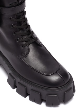 Detail View - Click To Enlarge - PRADA - Strapped patch pocket leather platform combat boots