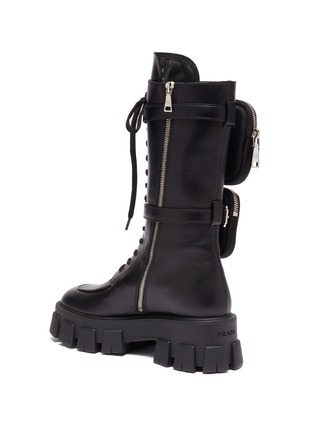 - PRADA - Strapped patch pocket leather platform combat boots