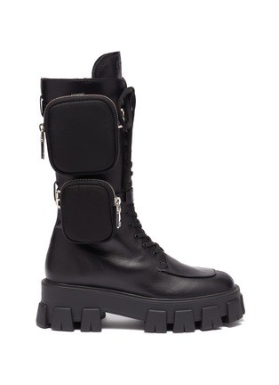 Main View - Click To Enlarge - PRADA - Strapped patch pocket leather platform combat boots