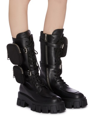 Figure View - Click To Enlarge - PRADA - Strapped patch pocket leather platform combat boots