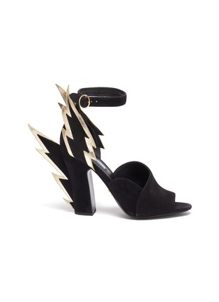 Main View - Click To Enlarge - PRADA - Lightning panel heel suede sandals