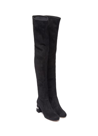 Detail View - Click To Enlarge - MIU MIU - Glass crystal heel suede thigh high boots