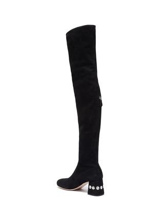 - MIU MIU - Glass crystal heel suede thigh high boots