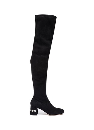 Main View - Click To Enlarge - MIU MIU - Glass crystal heel suede thigh high boots