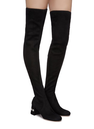 Figure View - Click To Enlarge - MIU MIU - Glass crystal heel suede thigh high boots