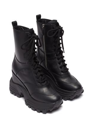 Detail View - Click To Enlarge - MIU MIU - Wedge platform leather combat boots