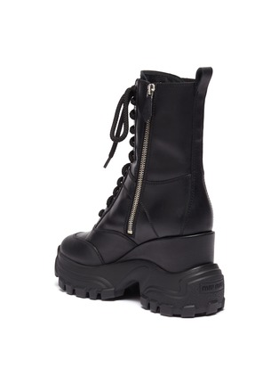 - MIU MIU - Wedge platform leather combat boots