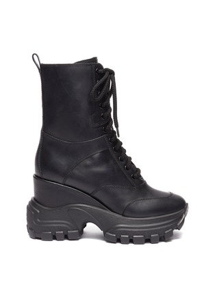 Main View - Click To Enlarge - MIU MIU - Wedge platform leather combat boots