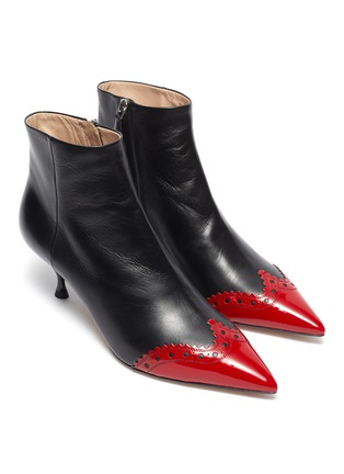 Detail View - Click To Enlarge - MIU MIU - Contrast patent toecap leather ankle boots