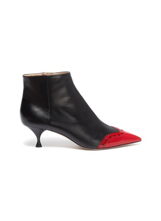 Main View - Click To Enlarge - MIU MIU - Contrast patent toecap leather ankle boots