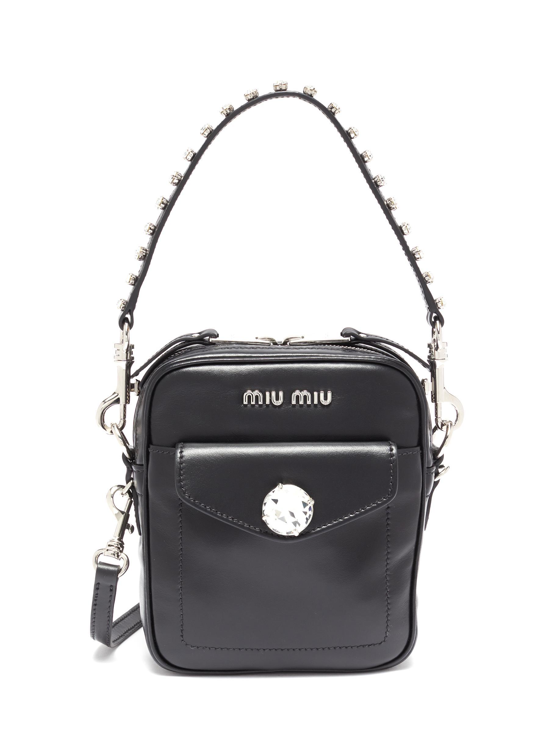 Miu Miu Glass Crystal Leather Crossbody Bag