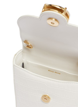 Detail View - Click To Enlarge - MIU MIU - Glass crystal clasp mini croc-embossed leather crossbody bag
