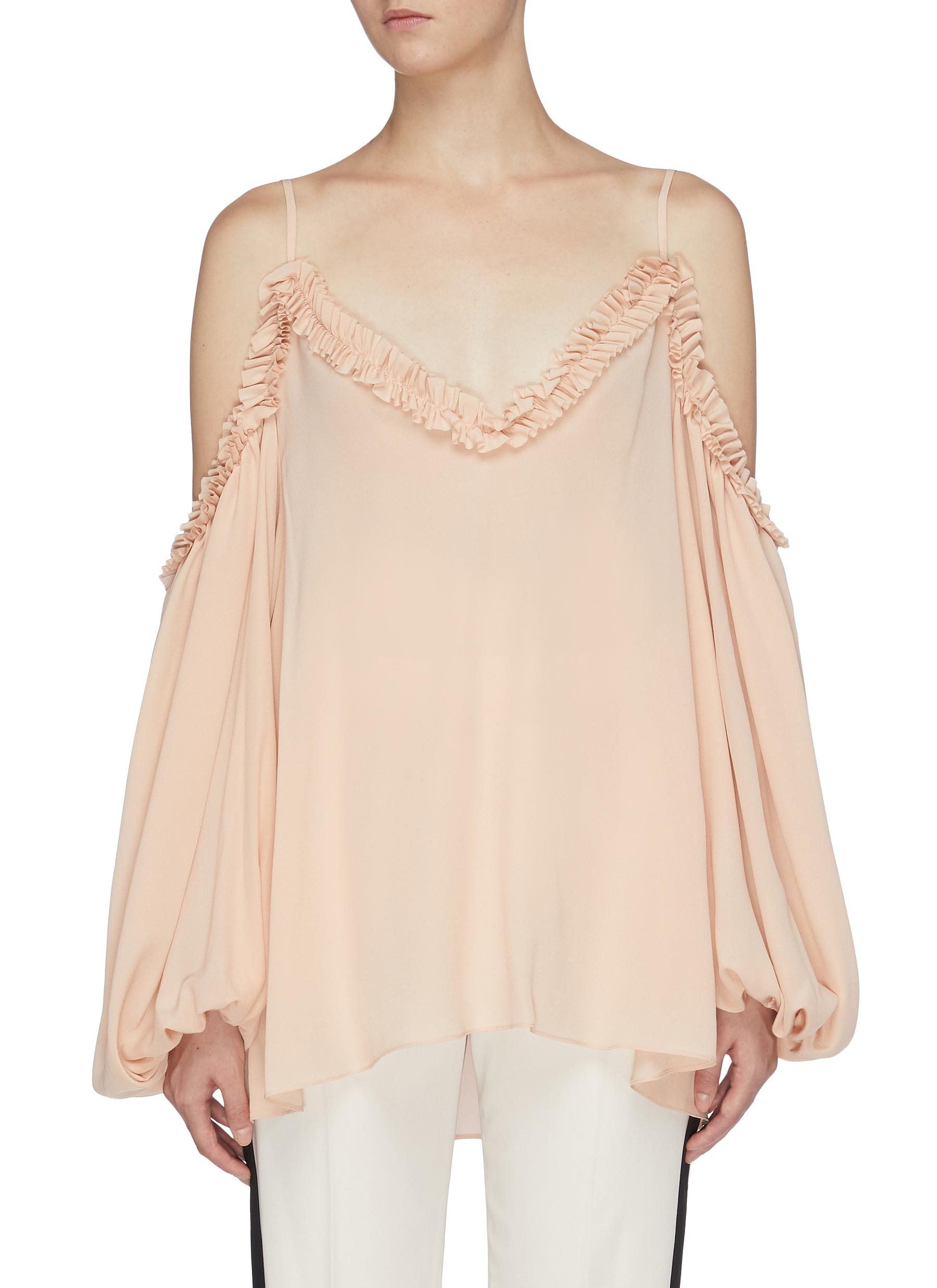 Ruffle puff sleeve cold-shoulder top by Stella Mccartney