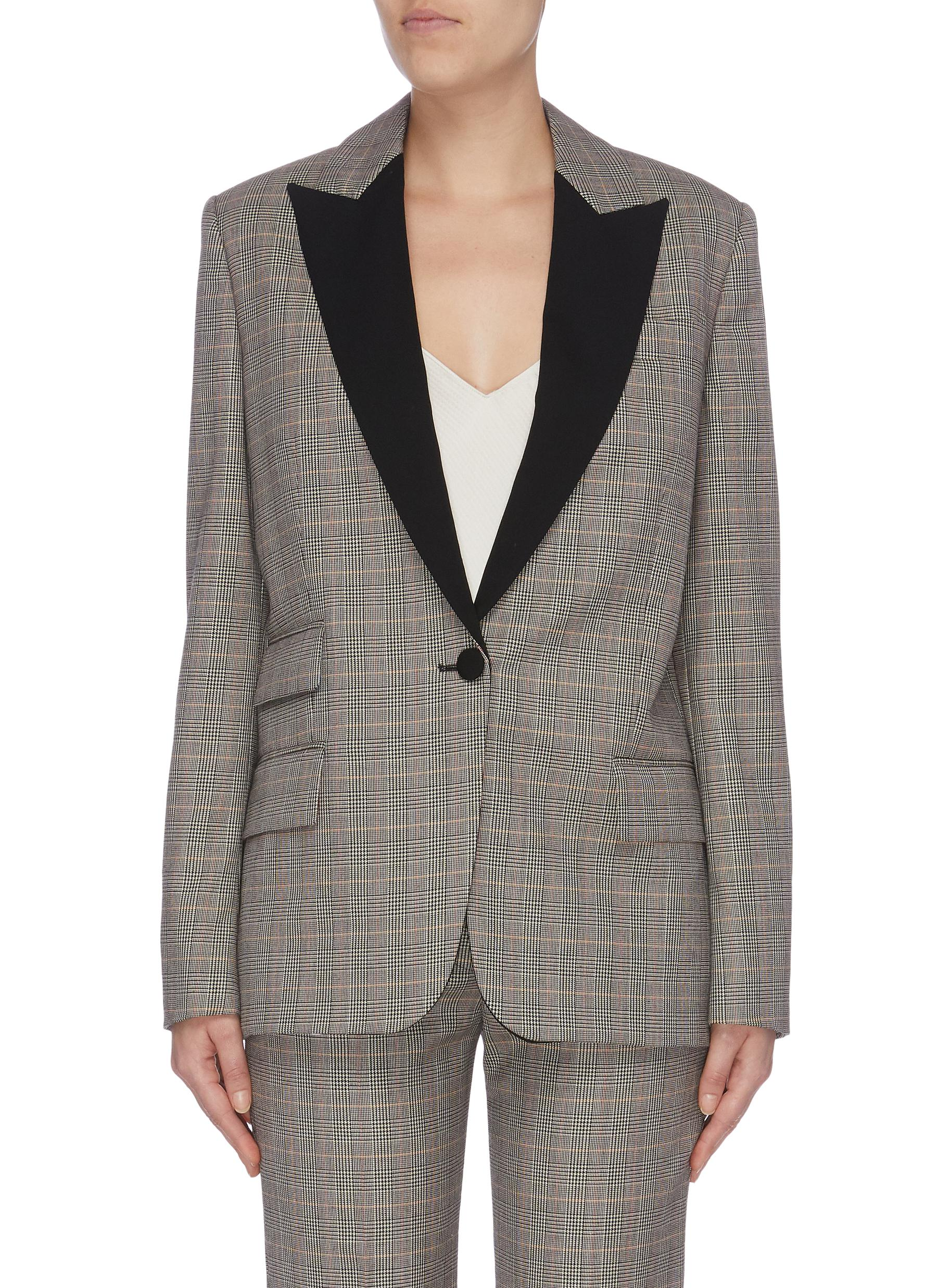 Contrast peaked lapel houndstooth check plaid blazer by Stella Mccartney