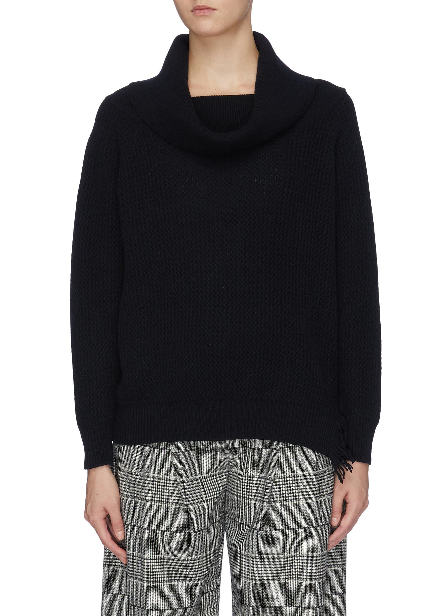 Frayed hem oversized cowl turtleneck sweater by Stella Mccartney