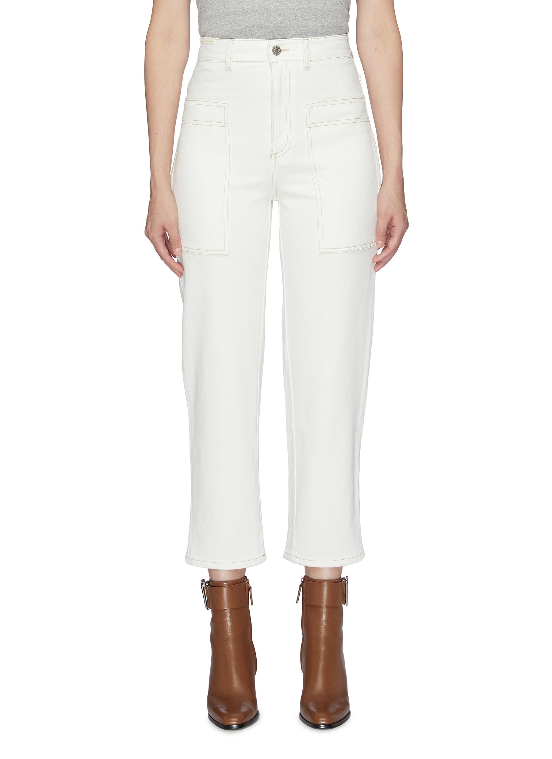 Contrast topstitching wide leg jeans by Stella Mccartney