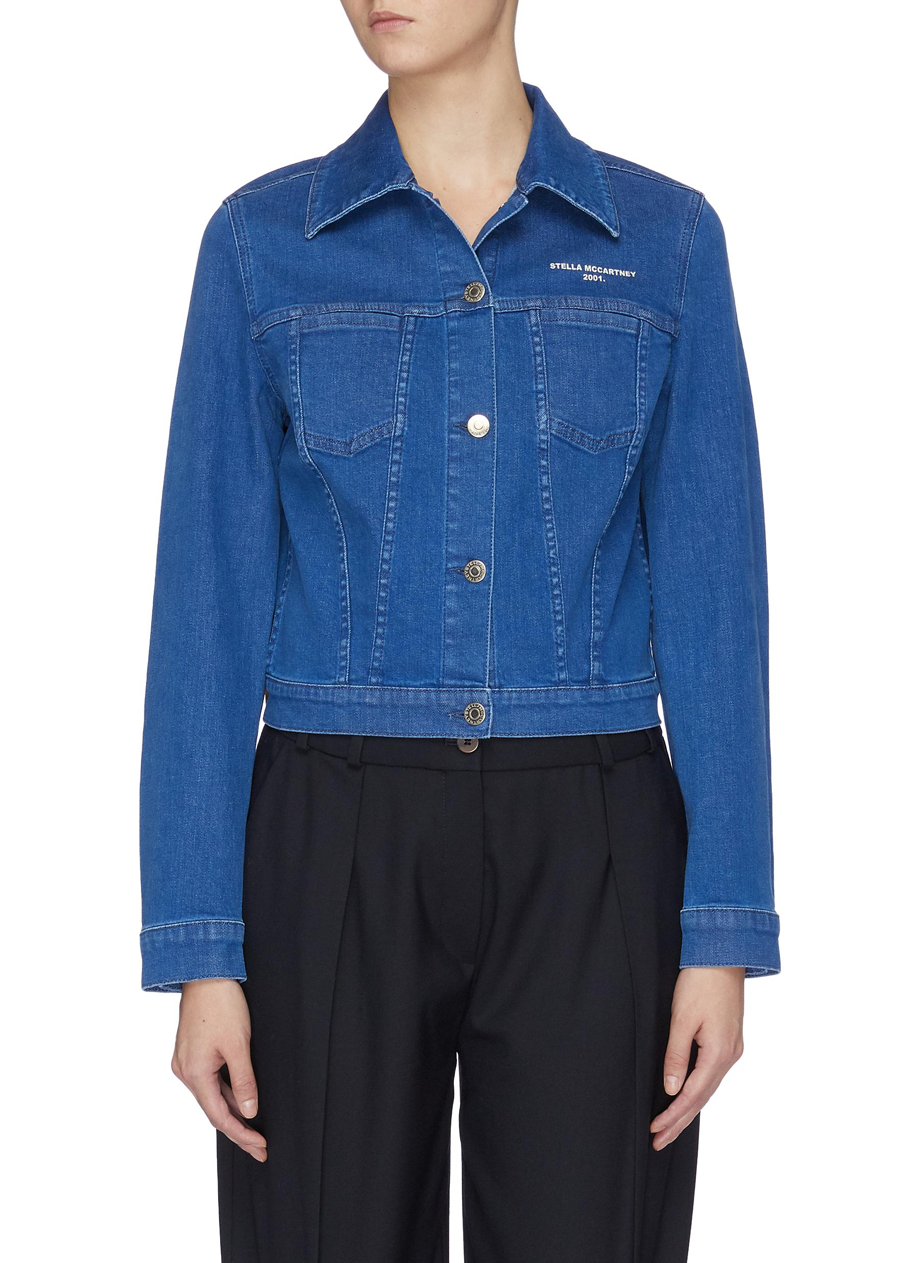 Stella 2001 logo print cropped denim jacket by Stella Mccartney