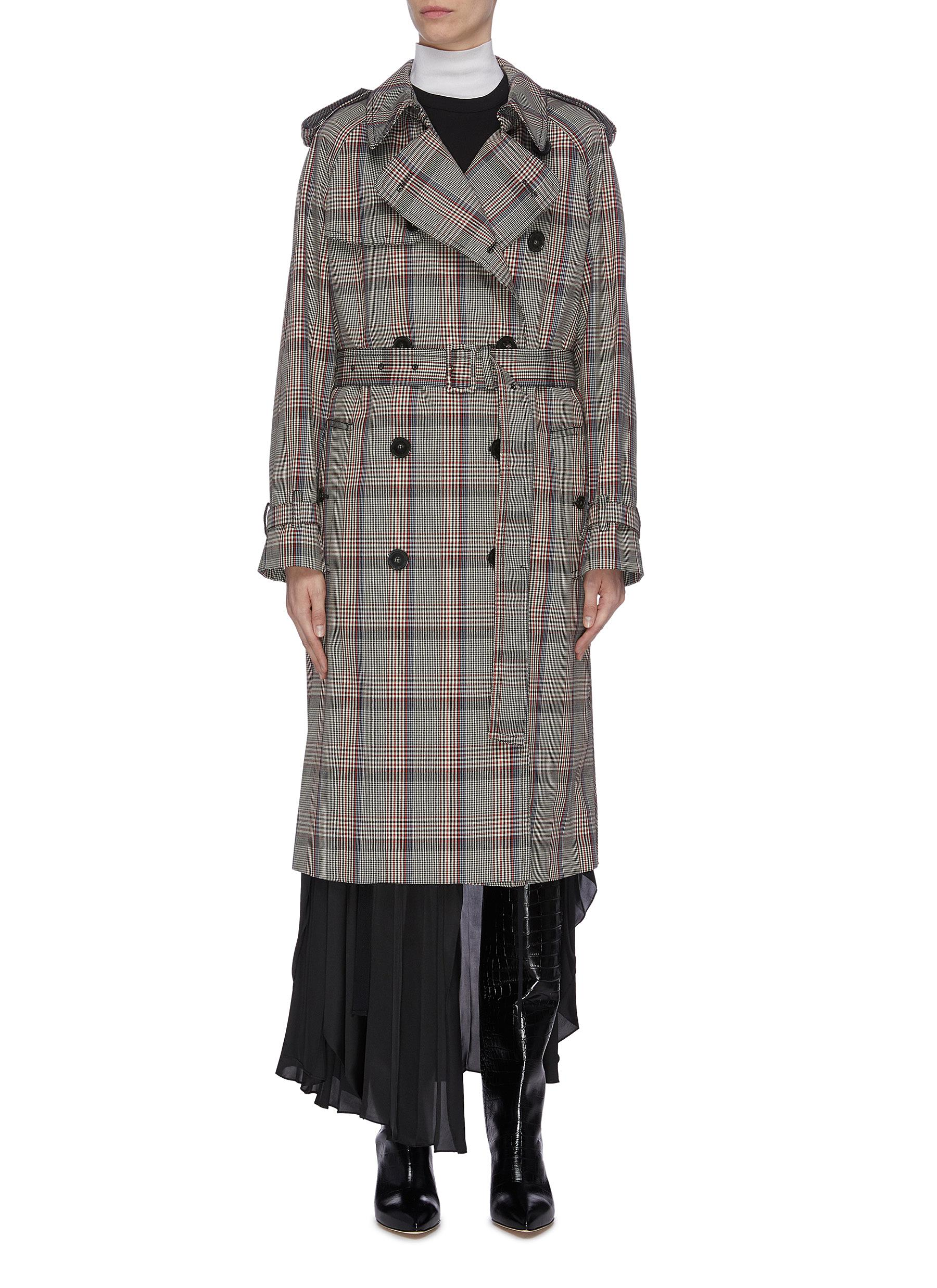Belted tartan plaid trench coat by Stella Mccartney