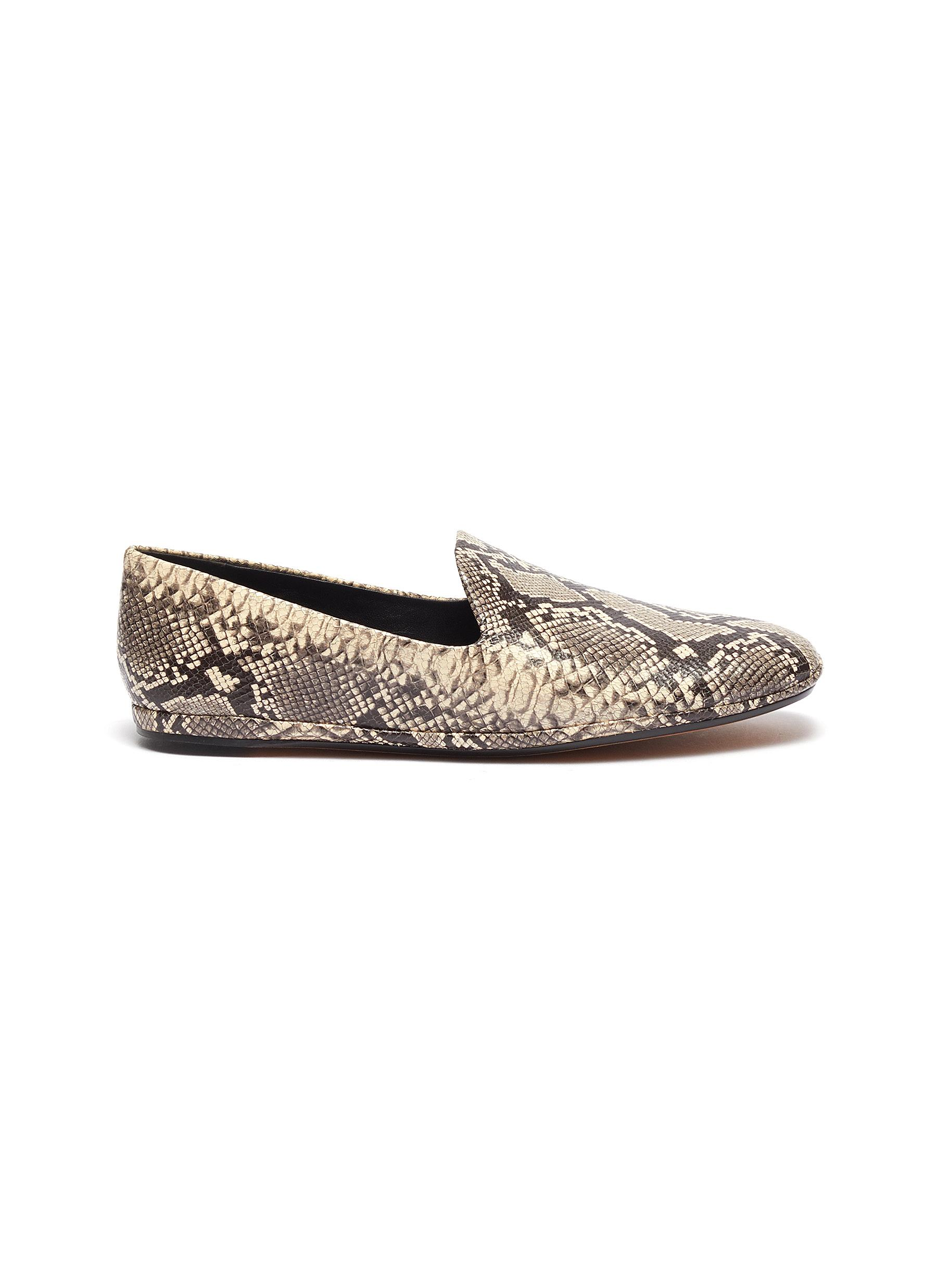 Paz snake embossed leather loafers by Vince