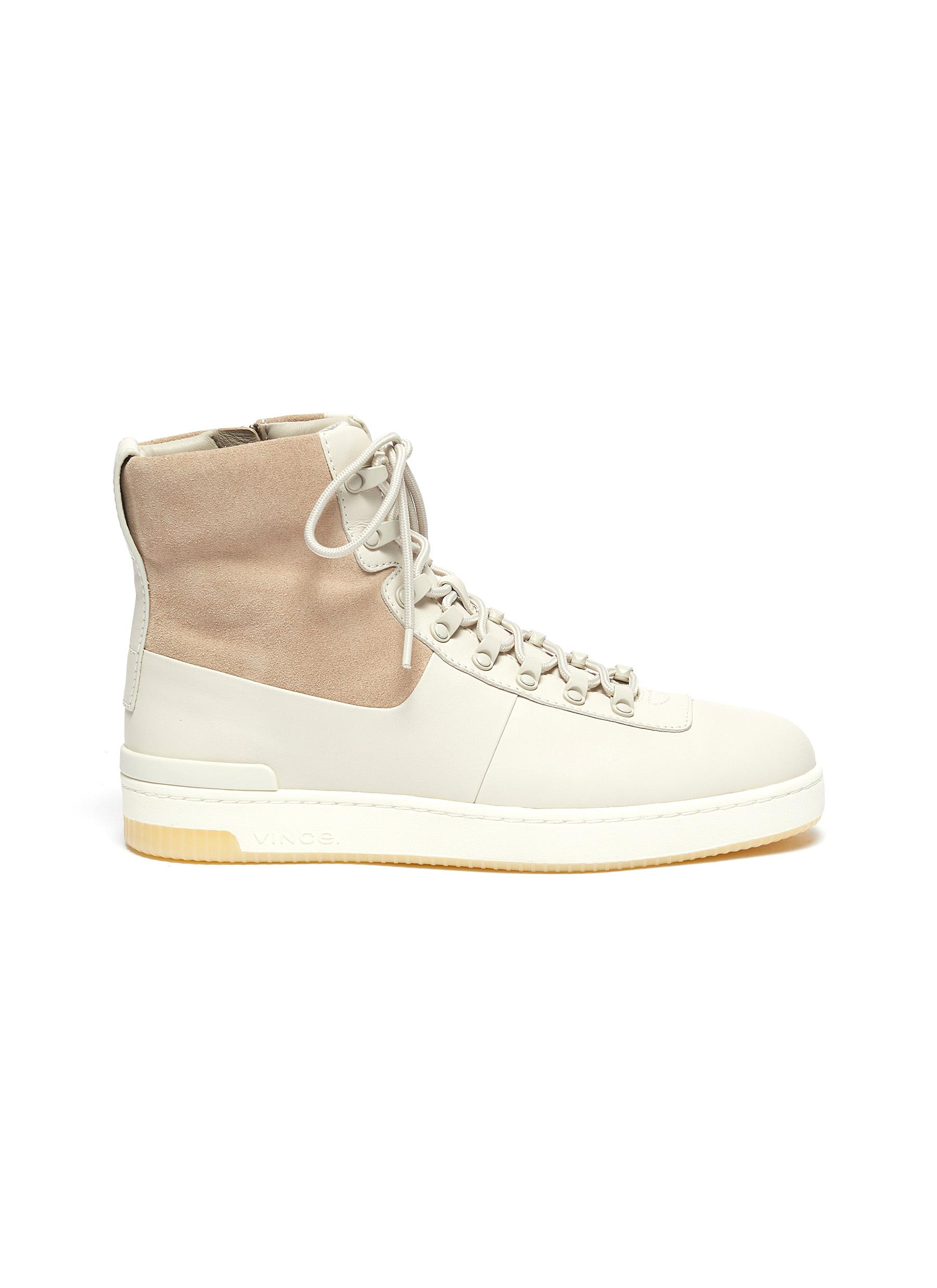 Rowan suede panel leather high top sneakers by Vince