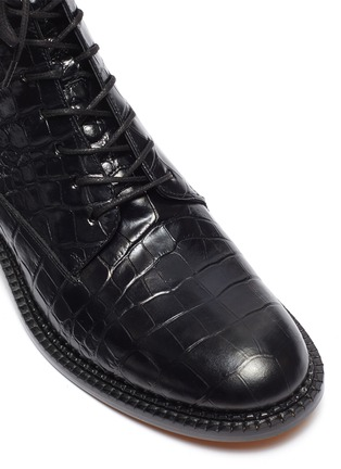 Detail View - Click To Enlarge - VINCE - 'Cabria' croc embossed leather combat boots