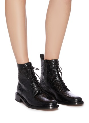 Figure View - Click To Enlarge - VINCE - 'Cabria' croc embossed leather combat boots