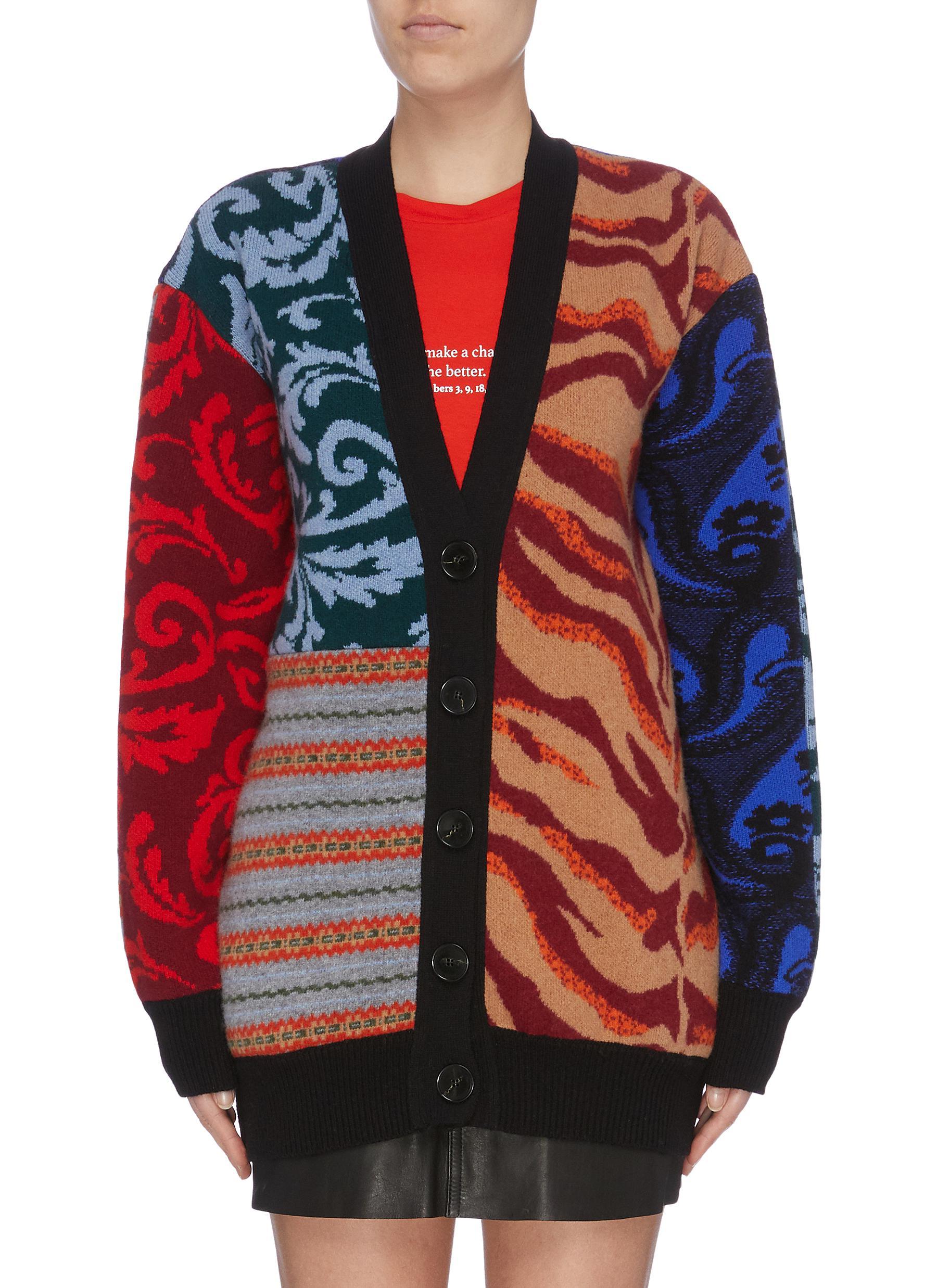 Mix jacquard patchwork cardigan by Stella Mccartney