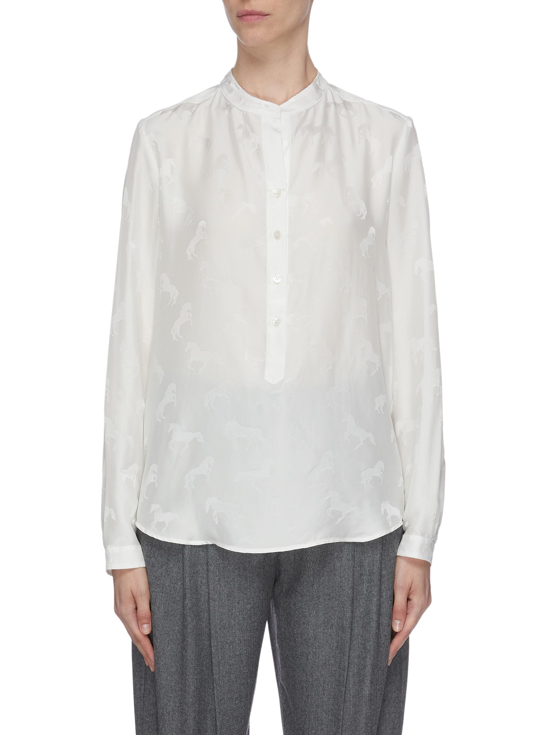 Mandarin collar horse jacquard shirt by Stella Mccartney