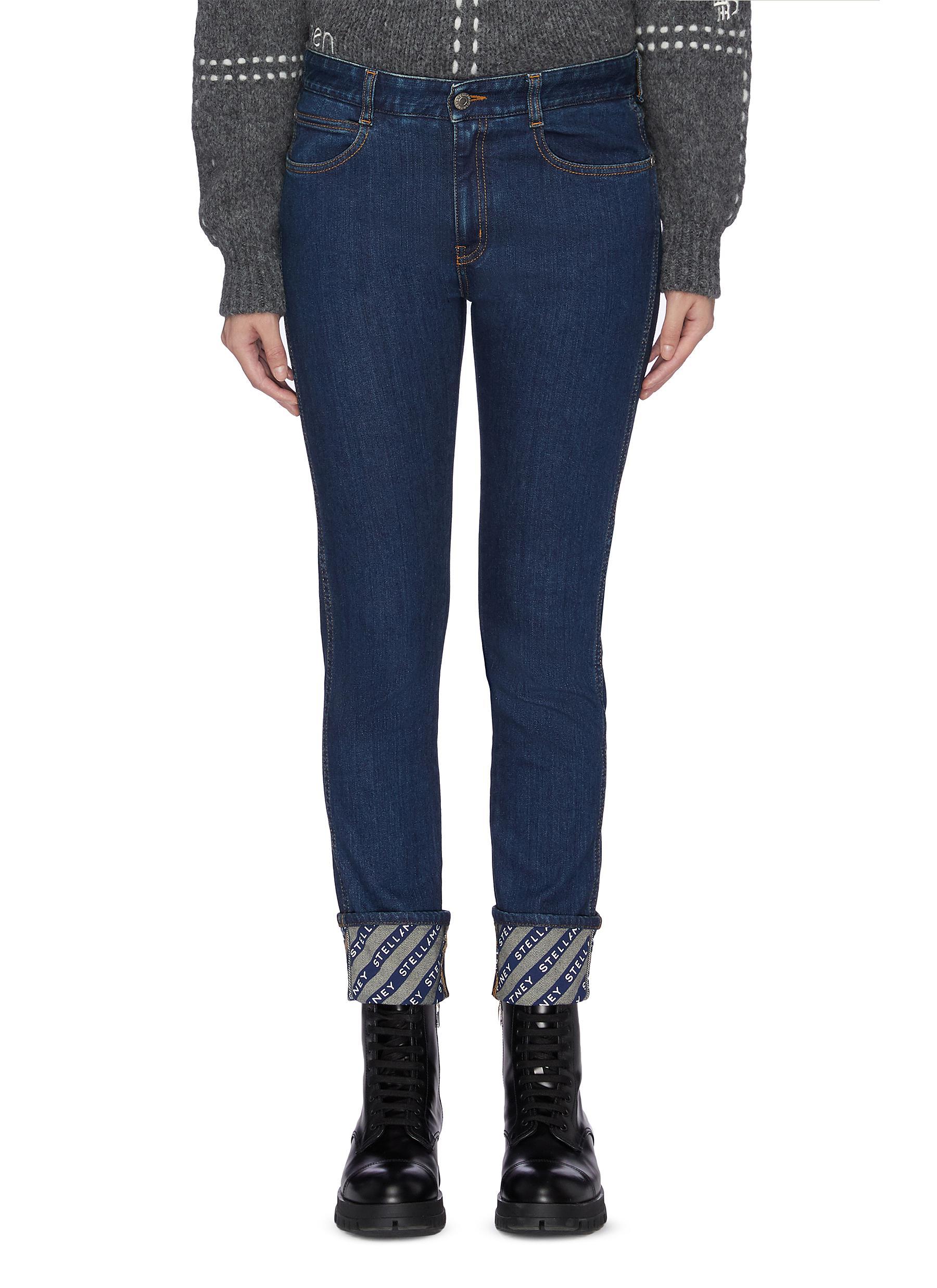 Logo reverse cuff skinny boyfriend jeans by Stella Mccartney