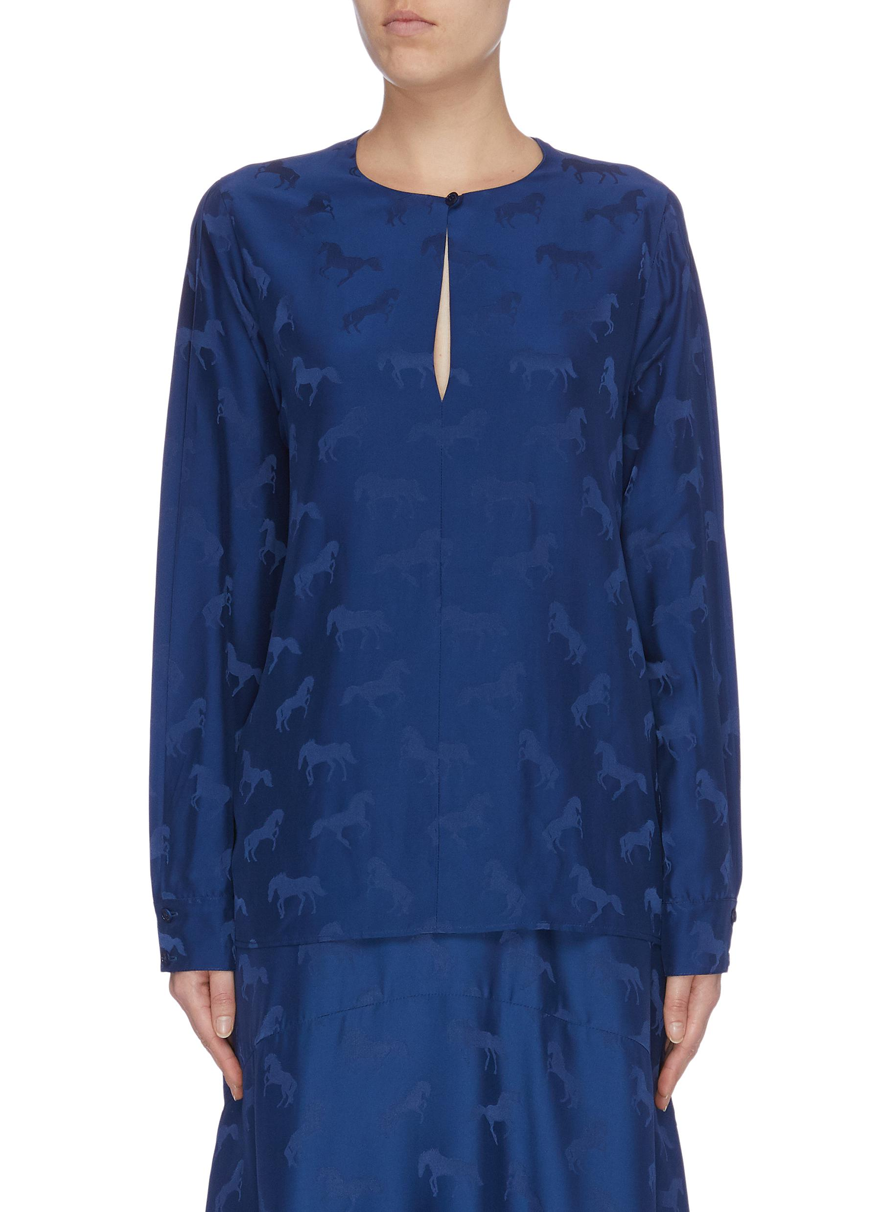 Horse jacquard keyhole front cutout sleeve top by Stella Mccartney