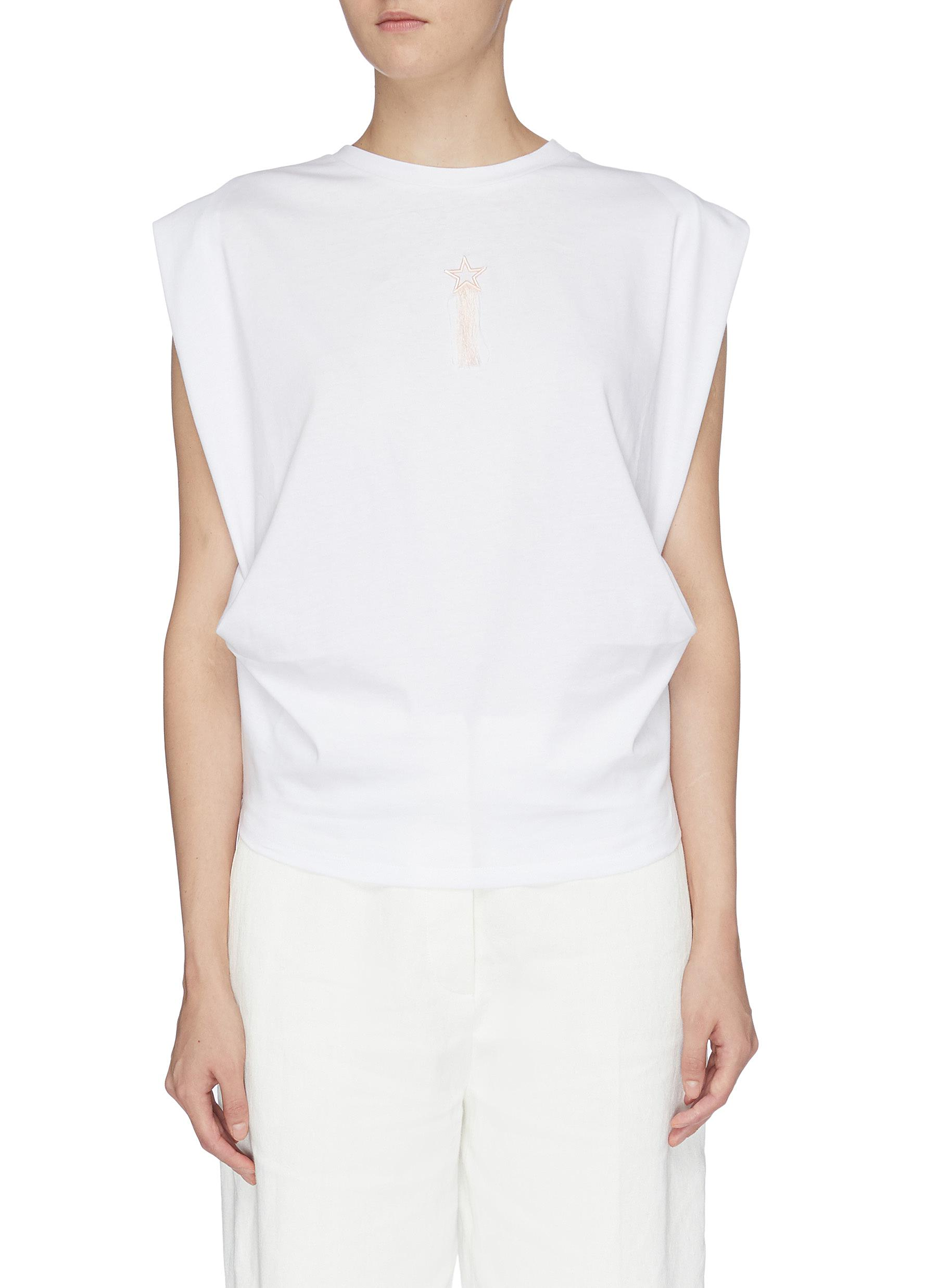 Mini Star pintuck graphic print top by Stella Mccartney