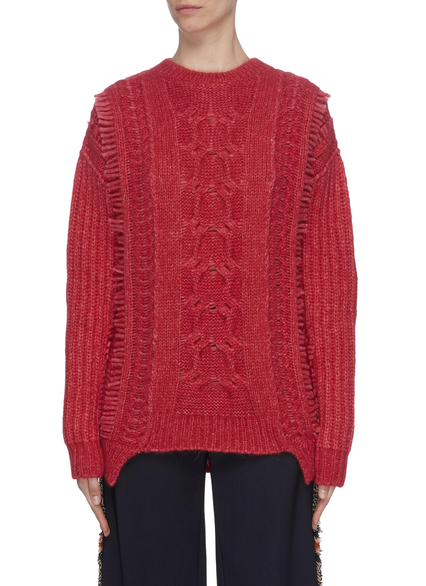 Fringed cable knit sweater by Stella Mccartney