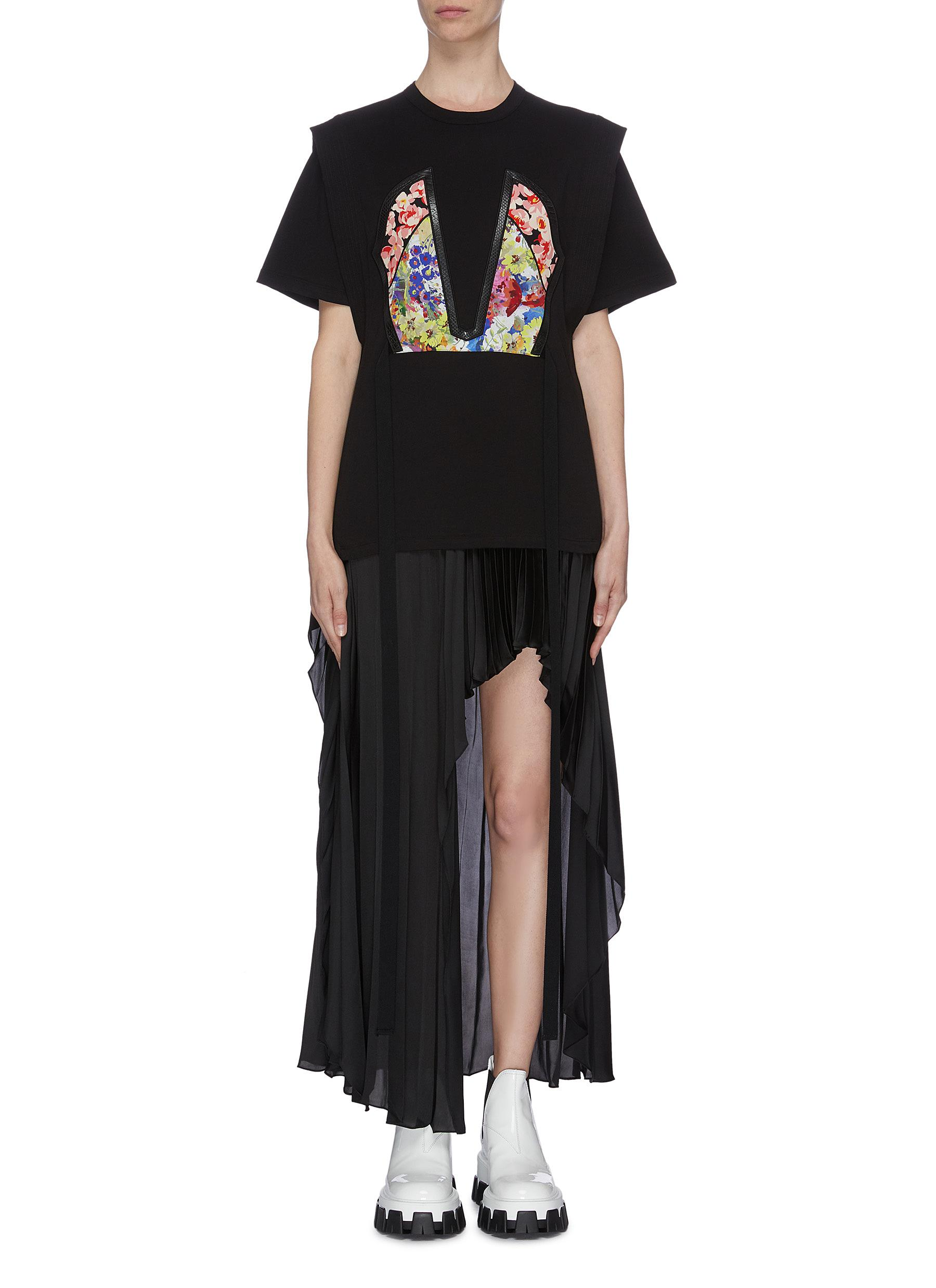 Floral print appliqué tailored T-shirt by Stella Mccartney