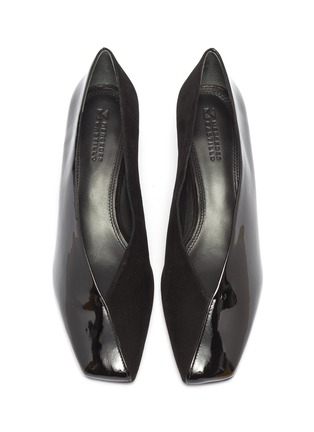 Detail View - Click To Enlarge - MERCEDES CASTILLO - 'Alisandra' suede panel patent leather choked-up pumps
