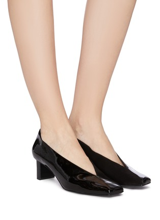 Figure View - Click To Enlarge - MERCEDES CASTILLO - 'Alisandra' suede panel patent leather choked-up pumps