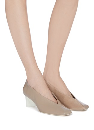 Figure View - Click To Enlarge - MERCEDES CASTILLO - Alisandra' leather panelled suede pumps