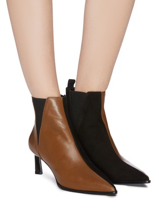Figure View - Click To Enlarge - MERCEDES CASTILLO - 'Eletta' colourblock suede panel leather Chelsea boots