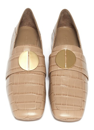 Detail View - Click To Enlarge - MERCEDES CASTILLO - 'Esmera' oversized nailhead croc-embossed patent leather loafers