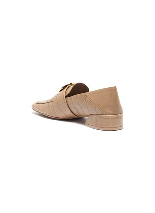- MERCEDES CASTILLO - 'Esmera' oversized nailhead croc-embossed patent leather loafers