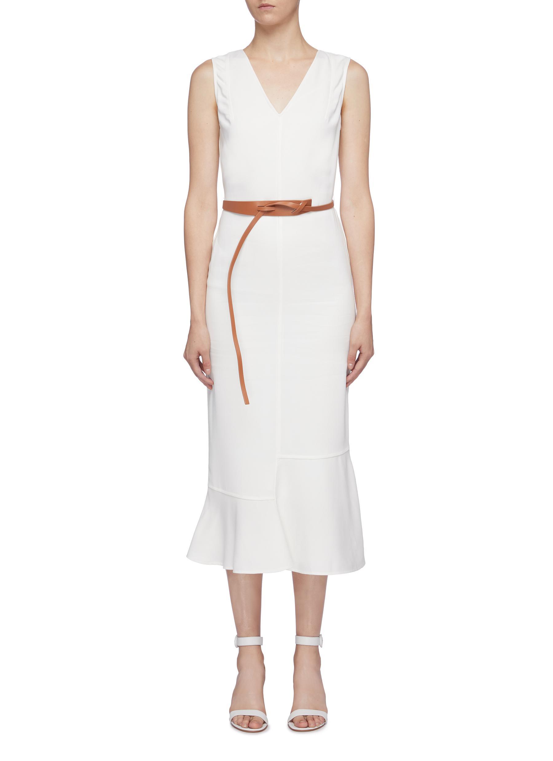 Belted asymmetric ruffle hem sleeveless georgette V-neck dress by Victoria Beckham