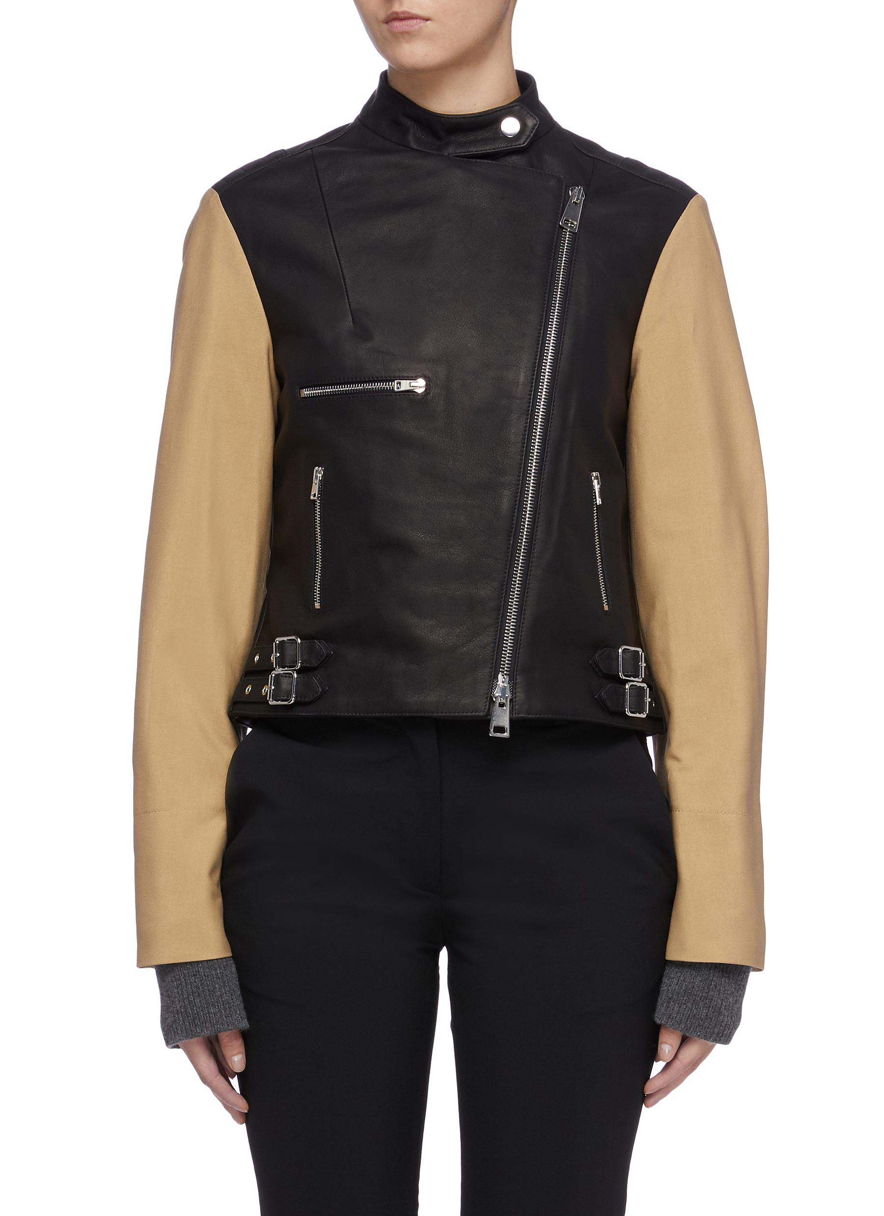 Contrast trench sleeve cropped leather biker jacket by Victoria Beckham