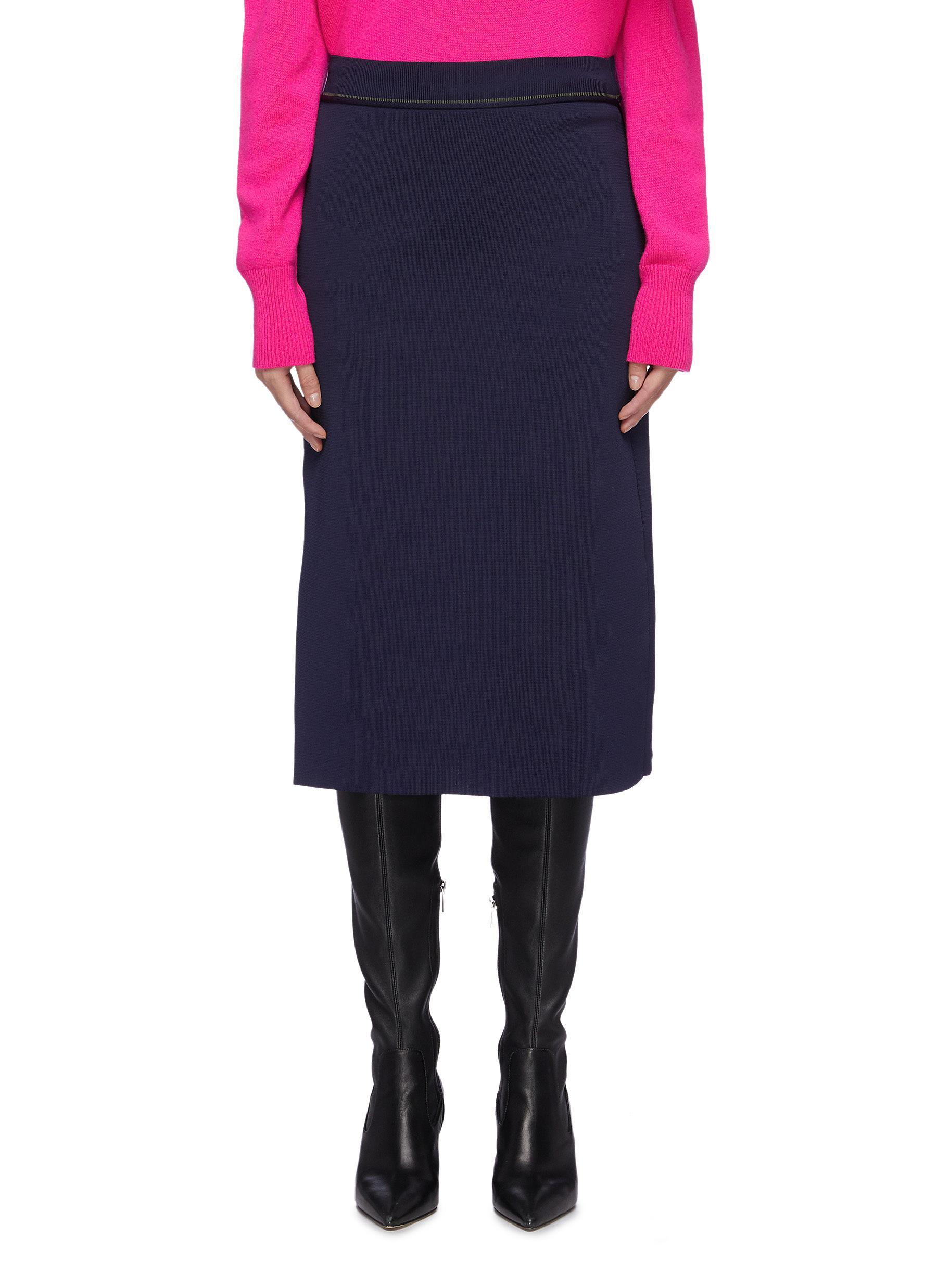 Split back hem colourblock panel knit skirt by Victoria Beckham