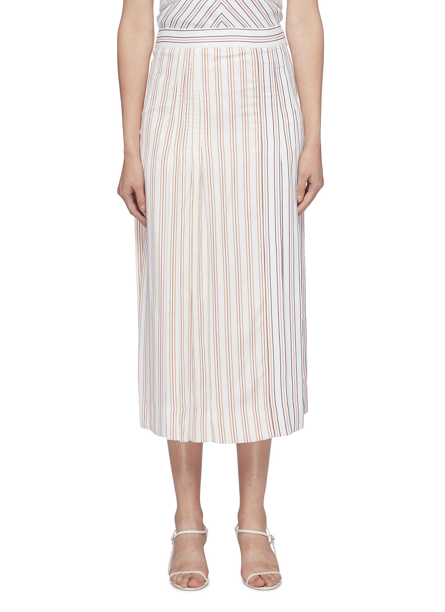 Pleated panelled pyjama stripe skirt by Victoria Beckham