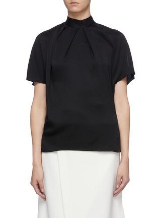 Main View - Click To Enlarge - VICTORIA BECKHAM - Tie cutout back silk seersucker mock neck top