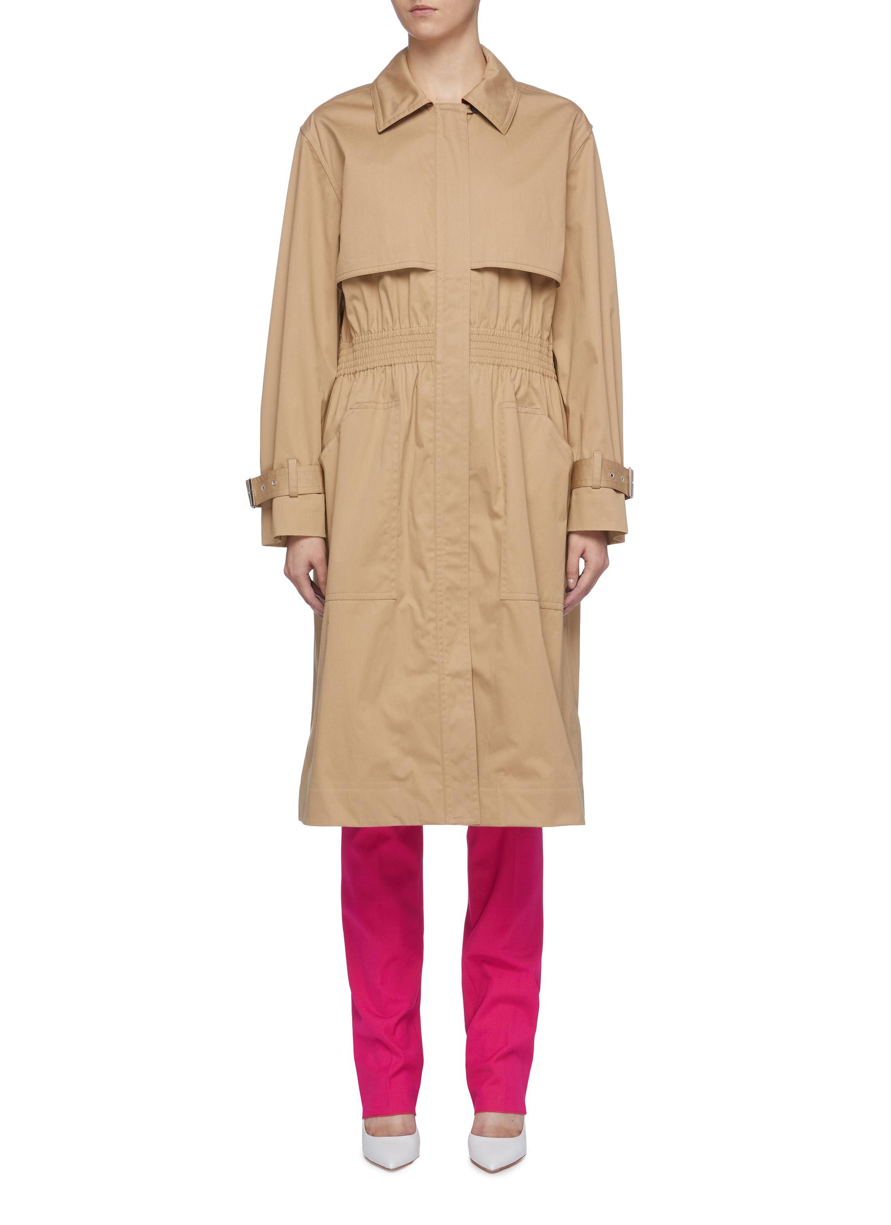 Shirred waist oversized trench coat by Victoria Beckham