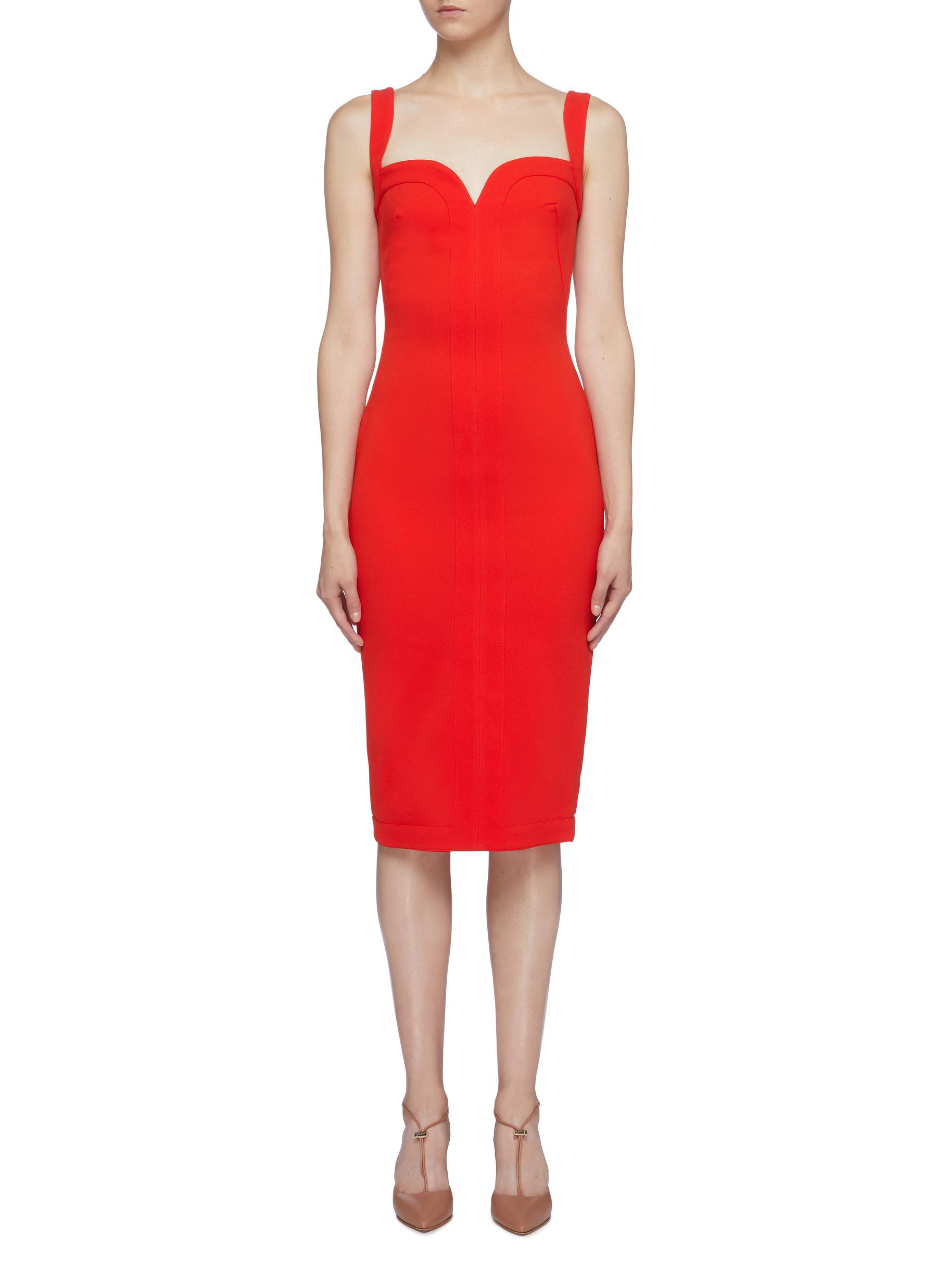 Sweetheart neckline sleeveless crepe dress by Victoria Beckham