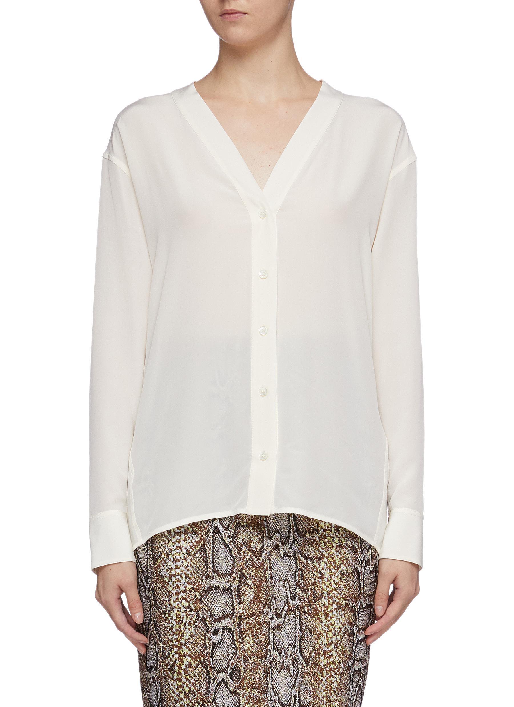 Twist back silk crepe V-neck blouse by Victoria Beckham