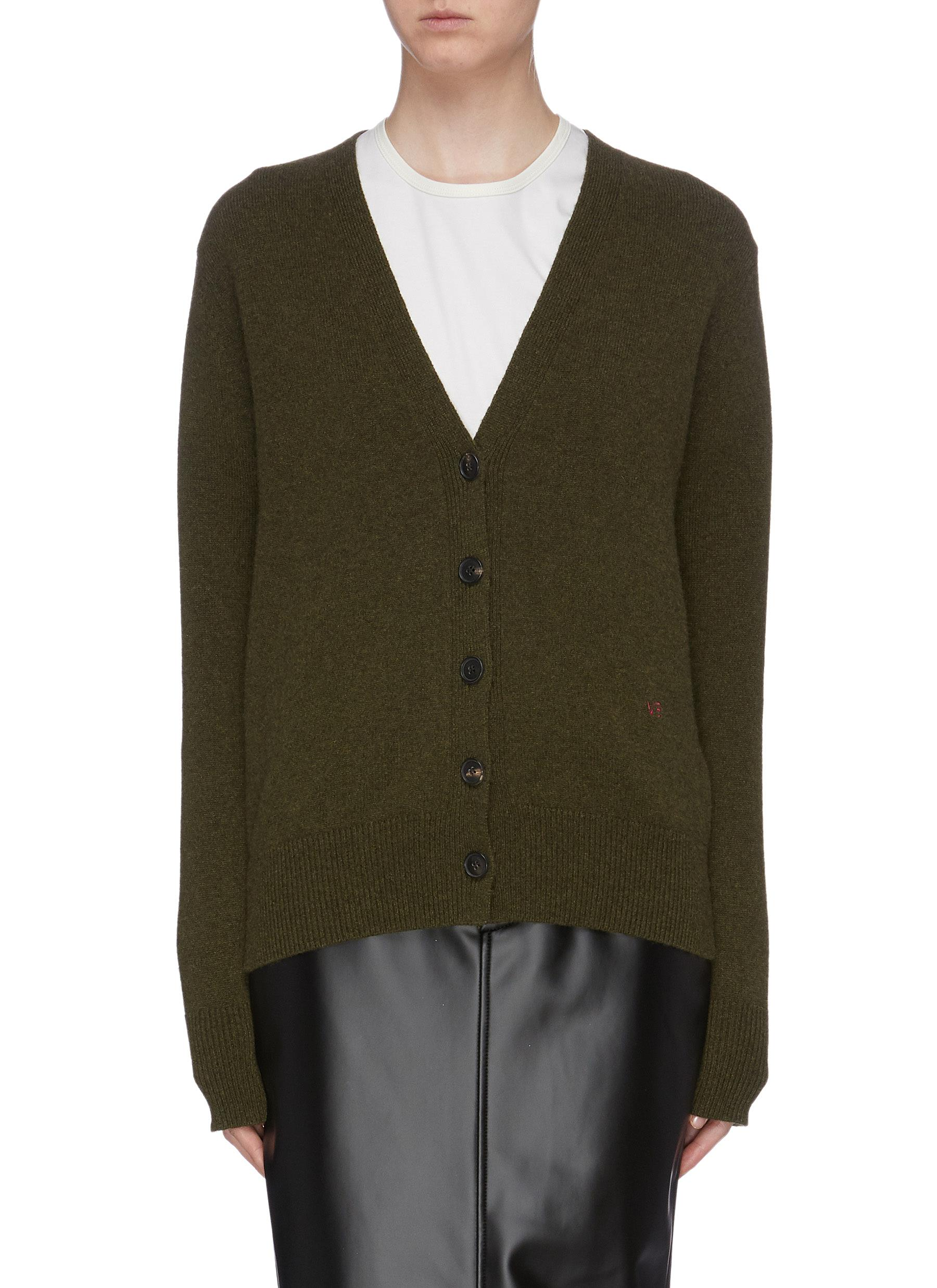 Logo embroidered cashmere cardigan by Victoria Beckham