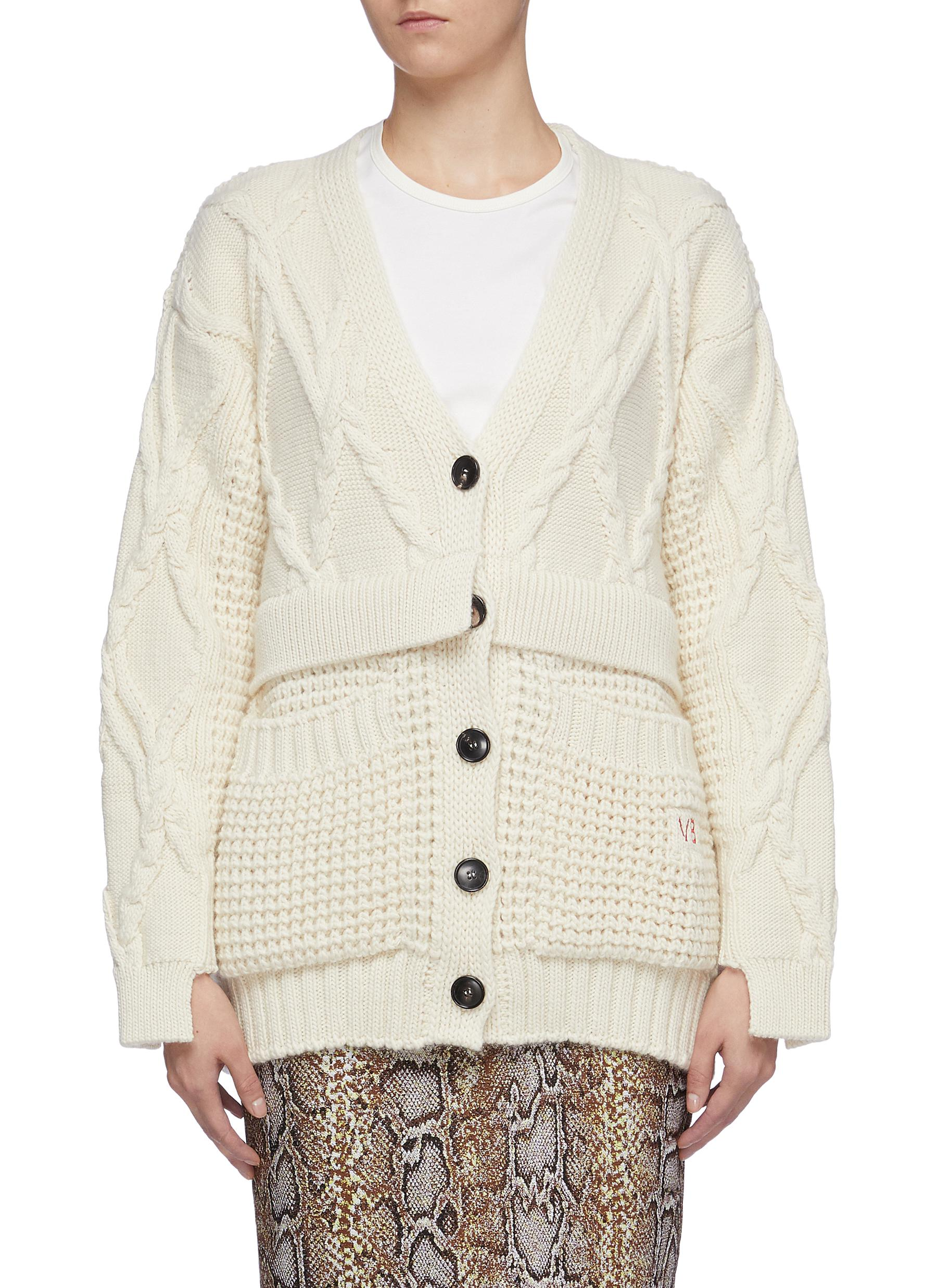 Panelled wool mix knit oversized cardigan by Victoria Beckham