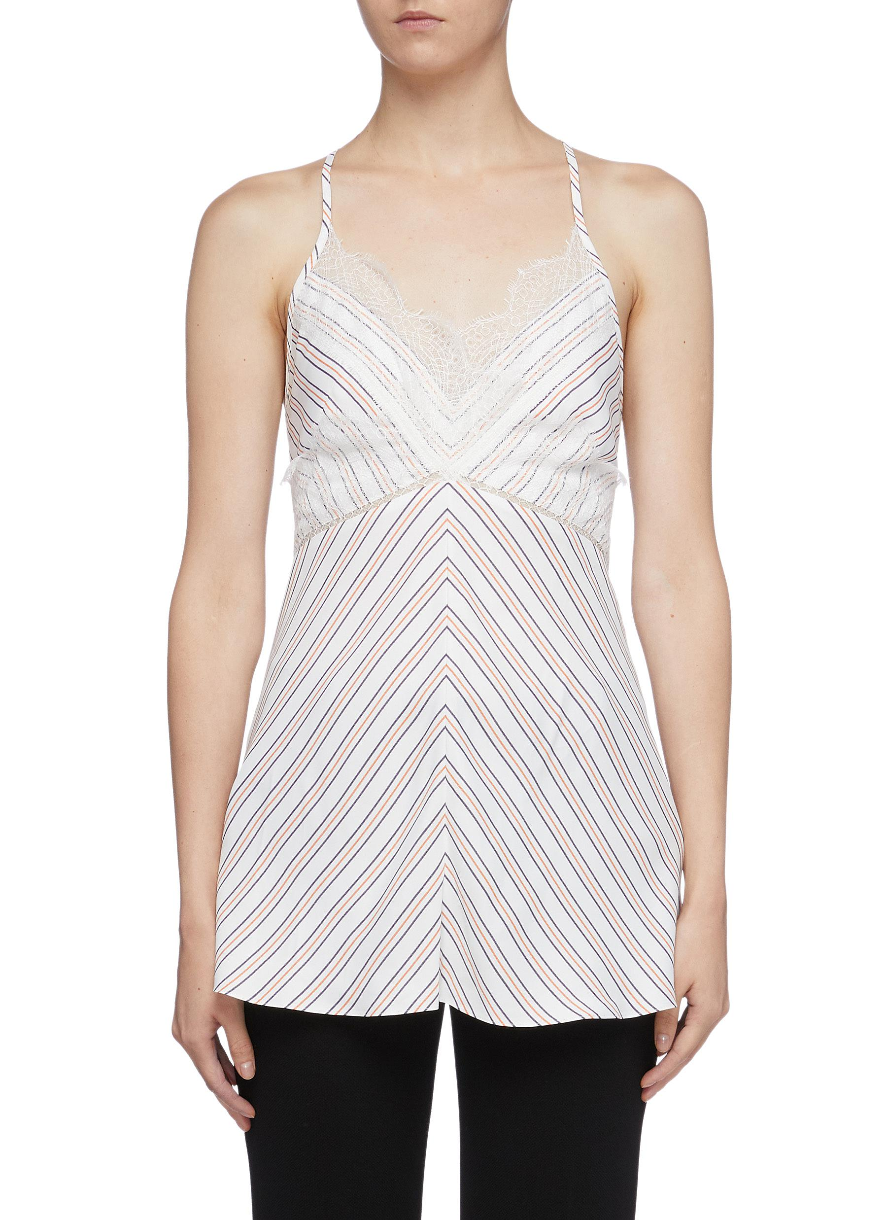 Chantilly lace trim cross back stripe camisole top by Victoria Beckham